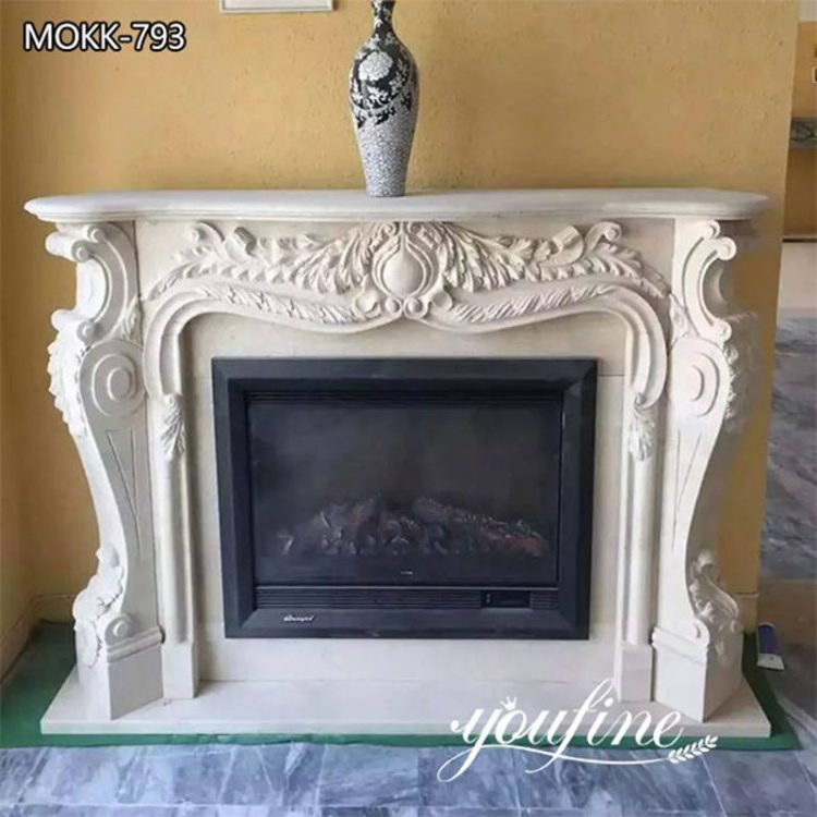 French White Marble Fireplace Mantel Surround for Sale MOKK-793