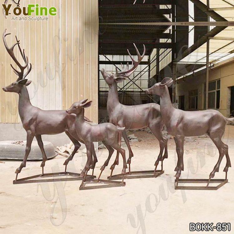 Hot-Selling Art Bronze Deer Sculpture Garden Decor Supplier BOKK-851