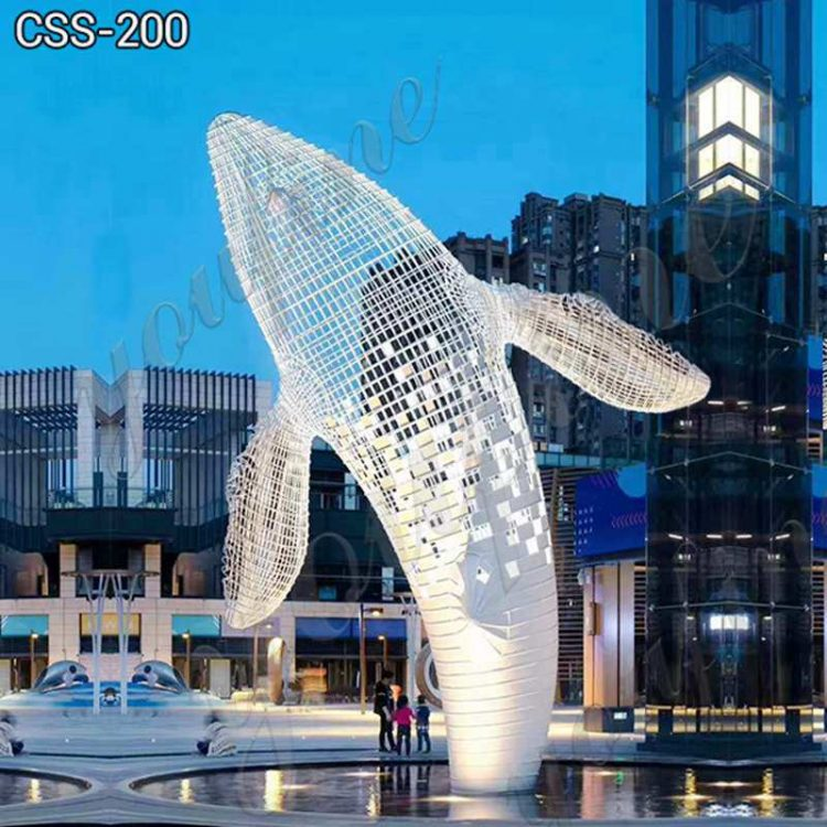 Huge Metal Humpback Whale Sculpture Shopping Mall Decor for sale CSS-200