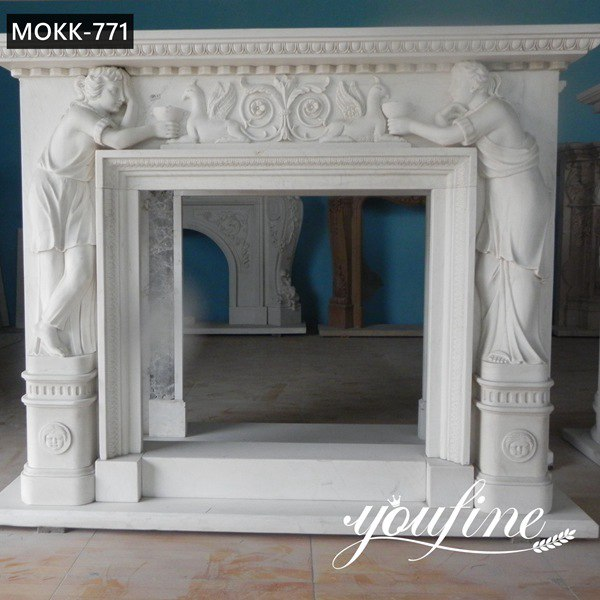Hand Carved Marble Figure Fireplace Indoor Decor Factory Supplier  MOKK-771