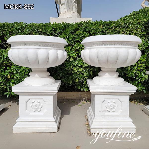 Outdoor Garden Hand Made Marble Carving Flowerpot Decor for Sale MOKK-832